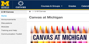 Screenshot of U of M Canvas