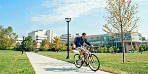 Bicyclist on Health System campus